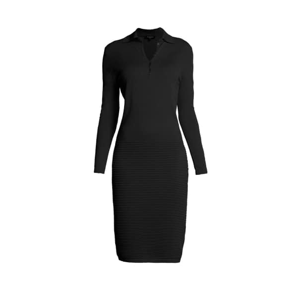 RUMOUR LONDON Olivia Black Soft Merino Wool-blend Knitted Dress