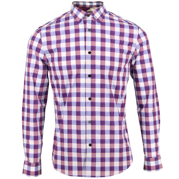 LORDS OF HARLECH Nigel Shirt In Blueberry Gingham