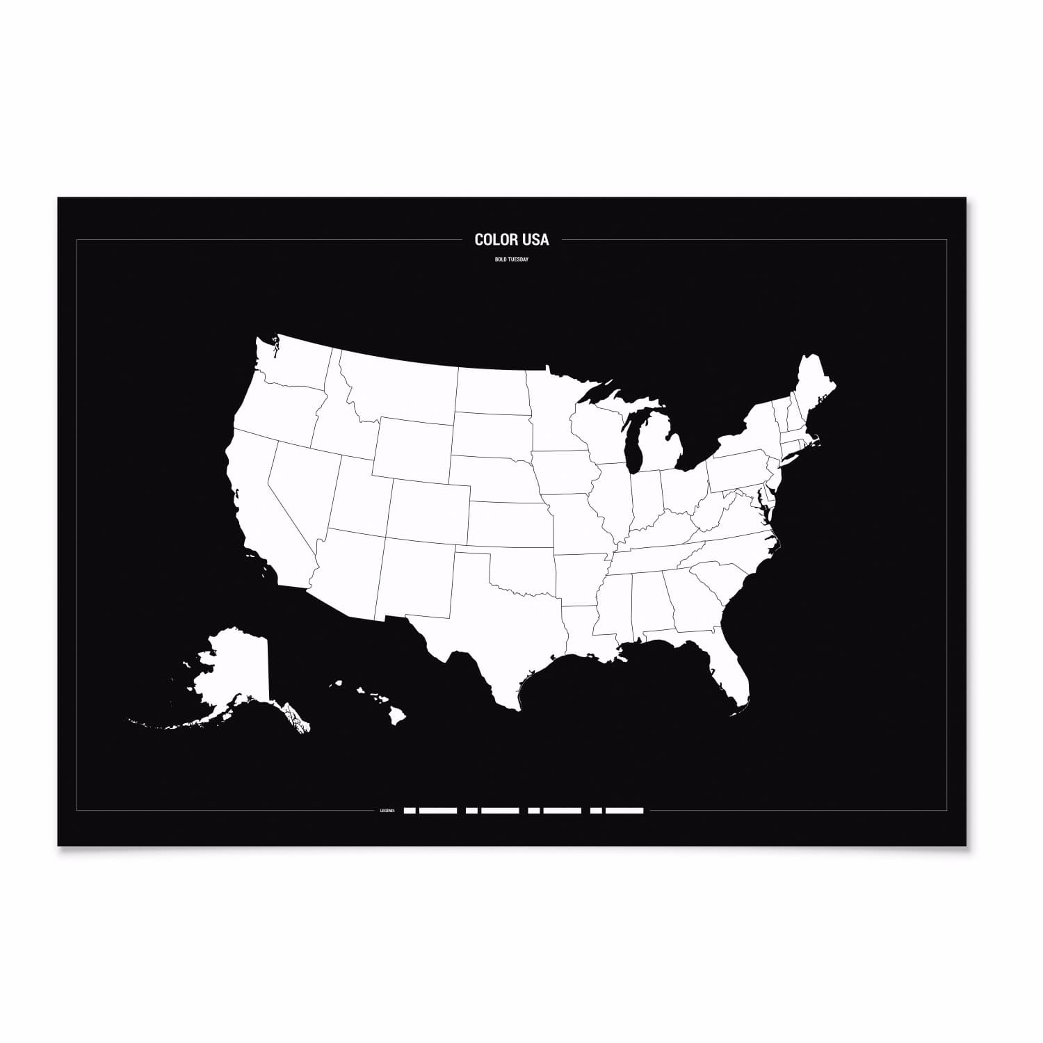 Colour USA Travel Map | Bold Tuesday | Wolf & Badger