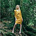 V-Neck Front Ruffled Midi Dress In Golden Yellow image