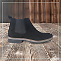 Curito Men's Suede Leather Chelsea Boots - Black image