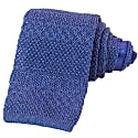 Blue Solid Textured Striped Linen Knitted Tie image