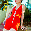 Run Away With Me Playsuit In Tomato Red image