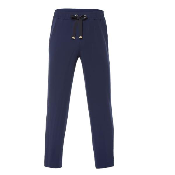 VIA MASINI 80 Blue Fluid Jersey Trousers