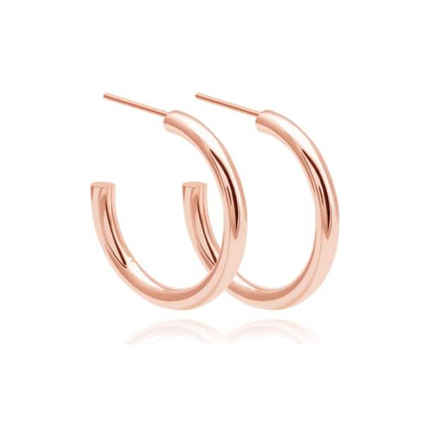 Astrid & Miyu Basic Large Hoop Earrings In Rose Gold