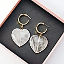 Serena S. Heart Drop Hoop Earrings - Clear Quartz image