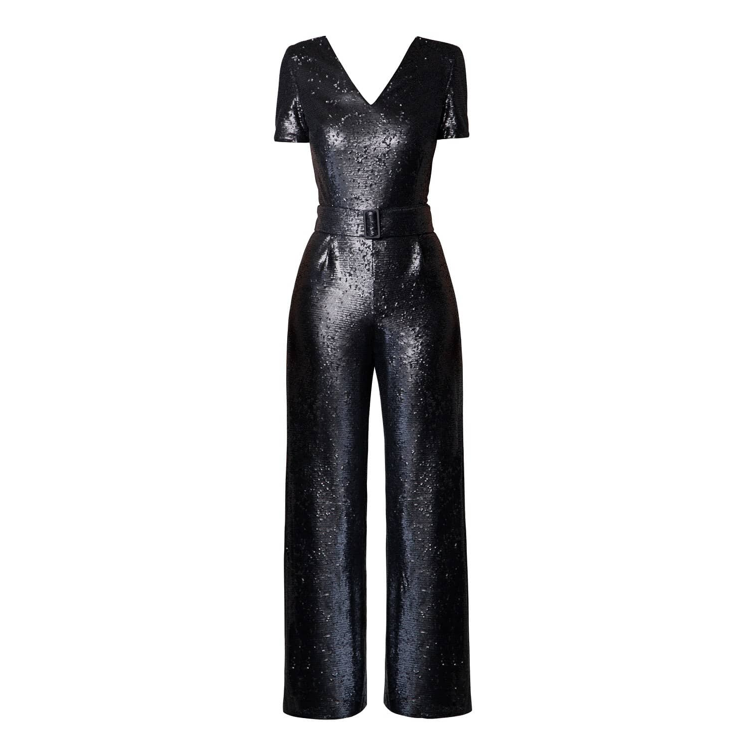find lowest price good looking Super discount Naomi Black Sequin Jumpsuit With V-Shaped Back by Rumour London