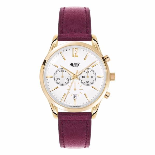 HENRY LONDON Ladies 39Mm Holborn Chronograph Leather Watch