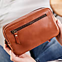 Travel Tan Leather Wash Bag image