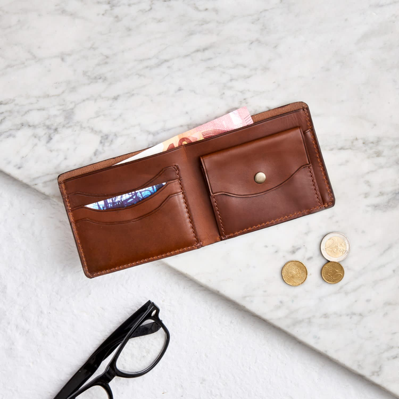 de bolsillo de Cartera Luxe imagen de con Tan moneda cuero H4axwqZO