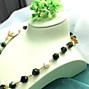 Tiger Eyes Stones With Baroque Pearl Short Necklace image