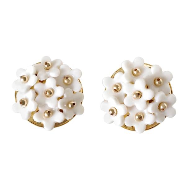POPORCELAIN Mini Daisy Cluster Clip Earrings