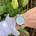 Montmartre Sterling Silver Watch With Almond & Pale Blue Strap image