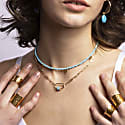 Eva Turquoise Reversible Necklace With Gold Discs image