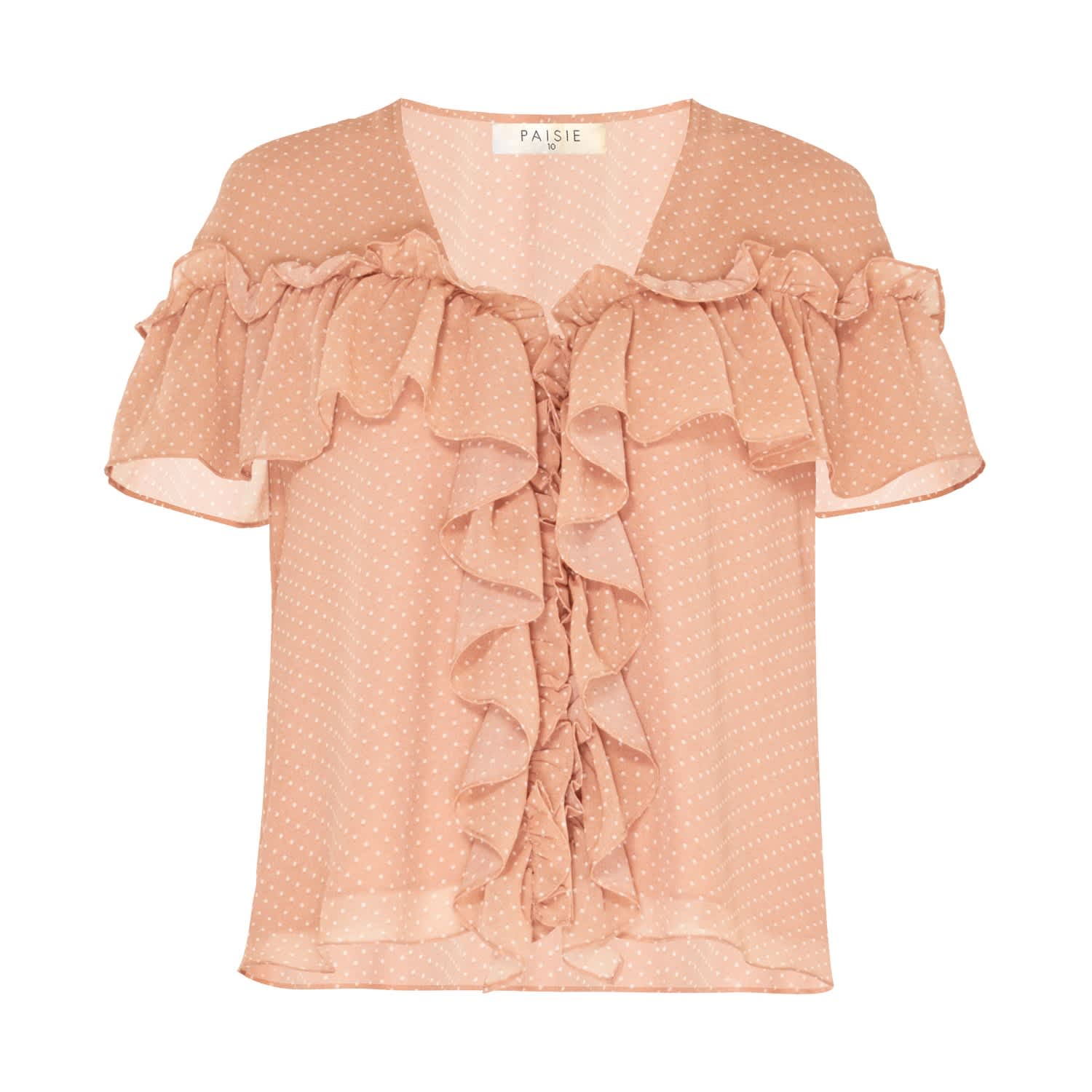 be8ee53baaa V-Neck Polka Dot Blouse With Ruffles In Coral & White | PAISIE ...