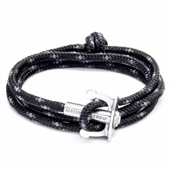 ANCHOR & CREW Black Union Anchor Silver And Rope Bracelet