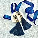 Rhinestone Tassel Earrings Navy image