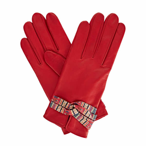 Beth Red Leather Gloves With Shades of Red Braided Barcode Liberty Tana Lawn
