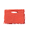 Ios Fringe Clutch In Coral Red image