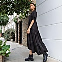 Black Satin Jacquard Tiered Puff Sleeve Midi Dress image