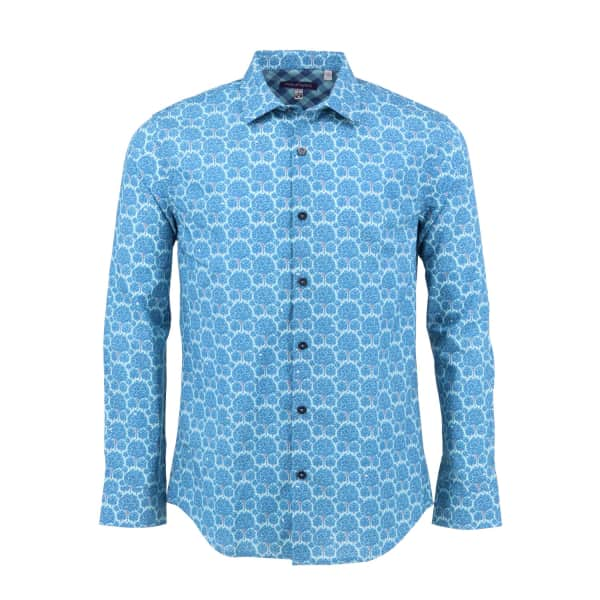 LORDS OF HARLECH Nigel Shirt In Teal Forest