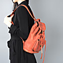 Handmade Genuine Leather Backpack In Tangerine Brown image