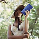 Gitta Royal Blue Handwoven Straw Clutch image