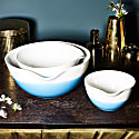 Mediterranean Blue Colour Dip Nested Bowl Set Of 3 image