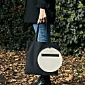 Black Square Tote With White Canvas Pocket image