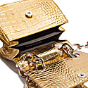 """H.O.W."" We Are Original Shoulder Bag In Gold Croco image"