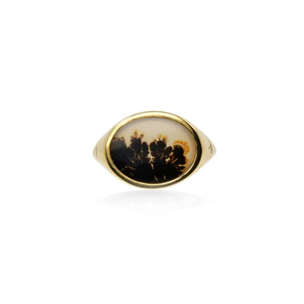 NO 13 Agate & Diamond Horizontal Signet Ring – 9Ct Solid Gold