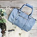Mini Duffle Handbag In Pastel Blue Suede image