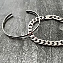 Mens Curb Bracelet   A Wide Flat Link Heavyweight Chain image
