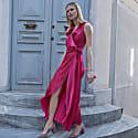 Doris Silk Dress in Fuchsia image