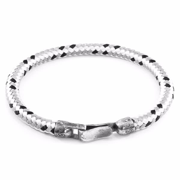 ANCHOR & CREW Grey Dash Paignton Silver And Rope Bracelet