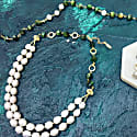 Freshwater Pearls & Tiger Eyes Stones Double Strands Necklace image