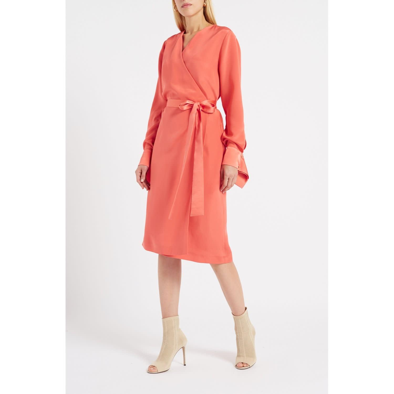 d309713bbd7 Peregrine Coral Silk Wrap Midi Dress image
