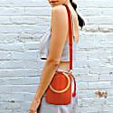 Water Metal Handle Small Bucket Bag - Orange image