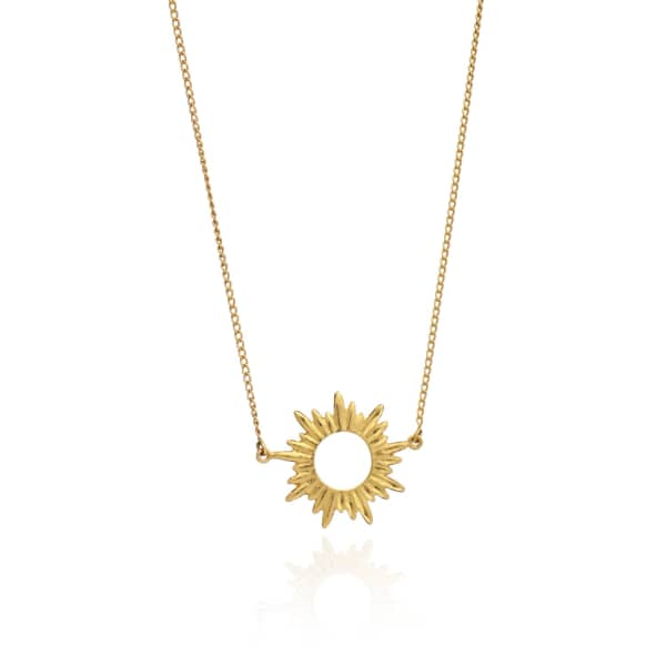 Sunrays Short Necklace In Gold from Wolf & Badger
