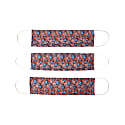 Pack Of 3 Reusable Protective Cloth Mask With Integrated Filter With Red Floral Print image
