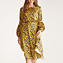 Leaf Print Dress With Balloon Cuffs In Yellow & Navy Leaf Print image