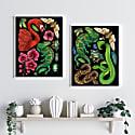 Antique Tropical Flora & Fauna - Black Fine Art Print A5 image