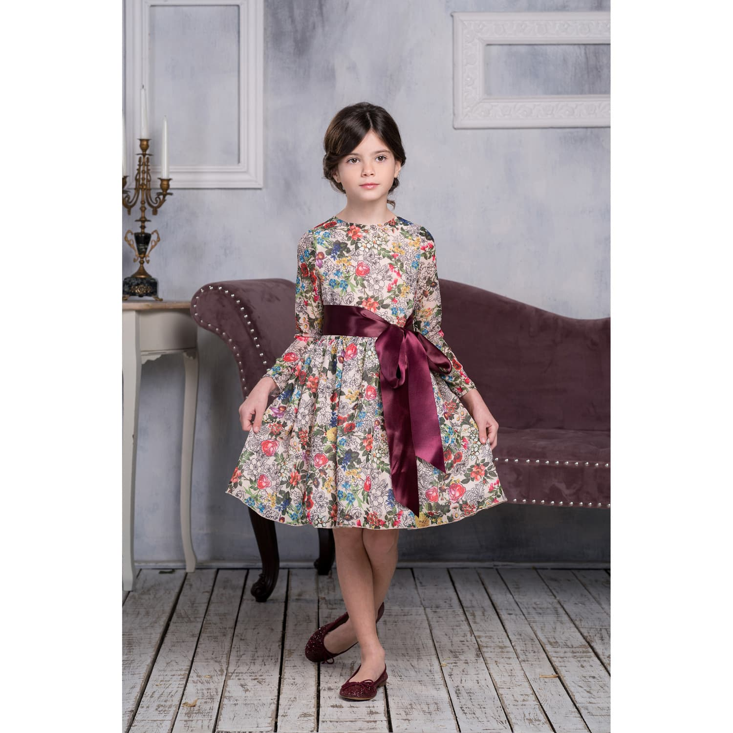 fac90435186c Ivory Floral Chiffon Tulle Dress with Burgundy Ribbon | Love Made ...