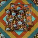 Coral Odyssey Orange Velvet Cushion image