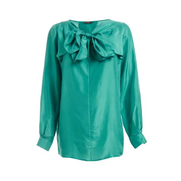Sabina Silk Bow Blouse Turquoise