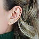 Golden Bezel Diamond Cartilage Earring 18K Yellow Gold Piercing Stud image