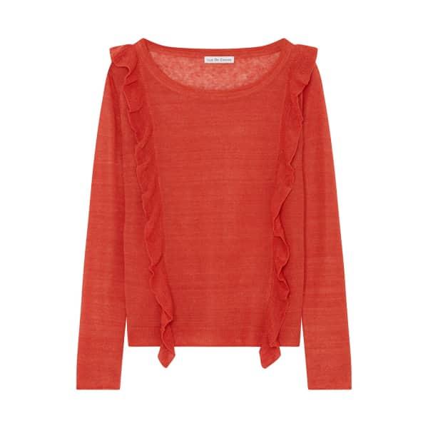ILLE DE COCOS Linen Ruffle Sweater Vintage Red