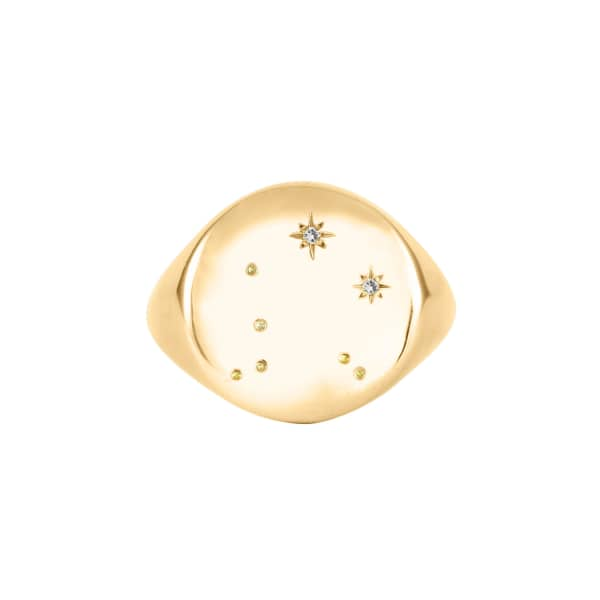 NO 13 Capricorn Constellation Signet Ring Diamonds & 9ct Gold
