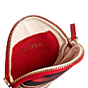 Cona Red Leather Round Purse With Handloomed Peshtemal image