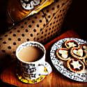 Vine China Mug - Black, White & Ochre image